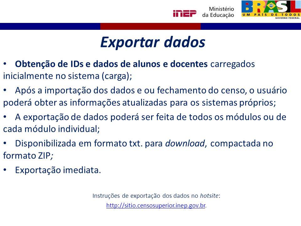 Obtenção de IDs e dados de alunos e docentes carregados inicialmente no sistema (carga); Após a importação dos dados e ou fechamento do censo, o usuár