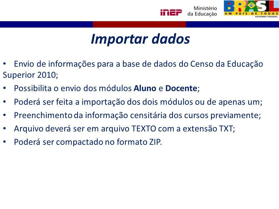 Envio de informações para a base de dados do Censo da Educação Superior 2010; Possibilita o envio dos módulos Aluno e Docente; Poderá ser feita a impo