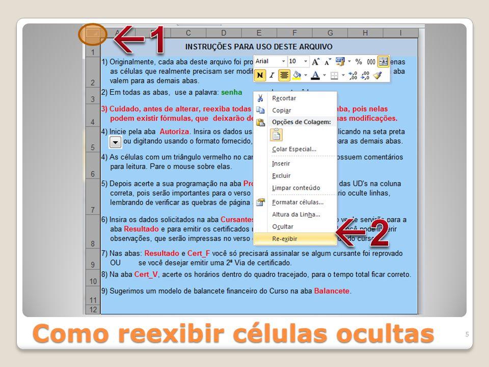 Como reexibir células ocultas 5