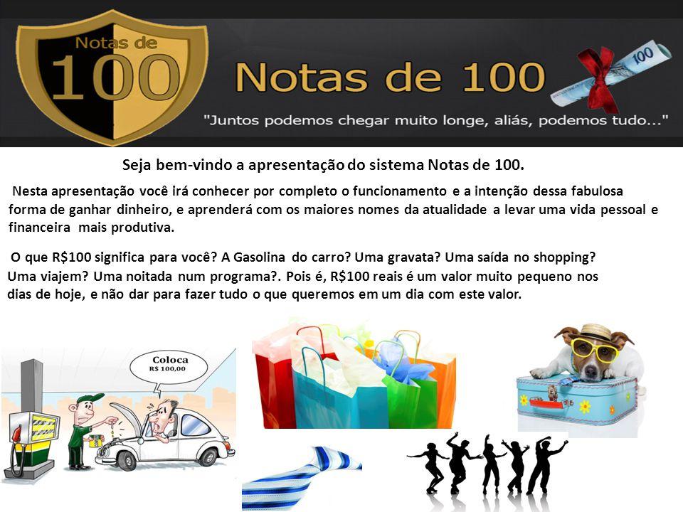 Seja bem-vindo a apresentação do sistema Notas de 100. Nesta apresentação você irá conhecer por completo o funcionamento e a intenção dessa fabulosa f