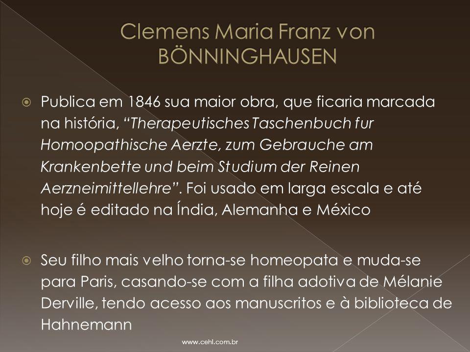 """ Publica em 1846 sua maior obra, que ficaria marcada na história, """"Therapeutisches Taschenbuch fur Homoopathische Aerzte, zum Gebrauche am Krankenbet"""