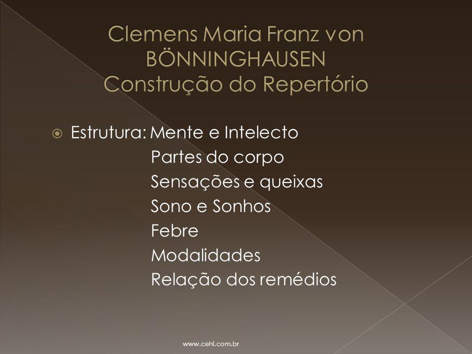  Estrutura: Mente e Intelecto Partes do corpo Sensações e queixas Sono e Sonhos Febre Modalidades Relação dos remédios www.cehl.com.br