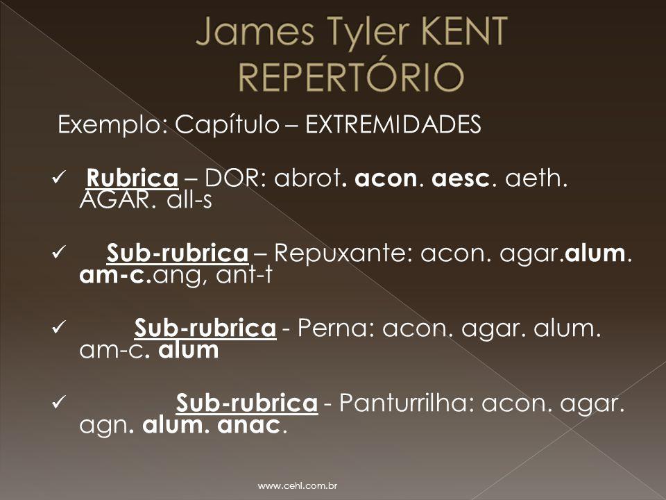 Exemplo: Capítulo – EXTREMIDADES Rubrica – DOR: abrot. acon. aesc. aeth. AGAR. all-s Sub-rubrica – Repuxante: acon. agar. alum. am-c. ang, ant-t Sub-r