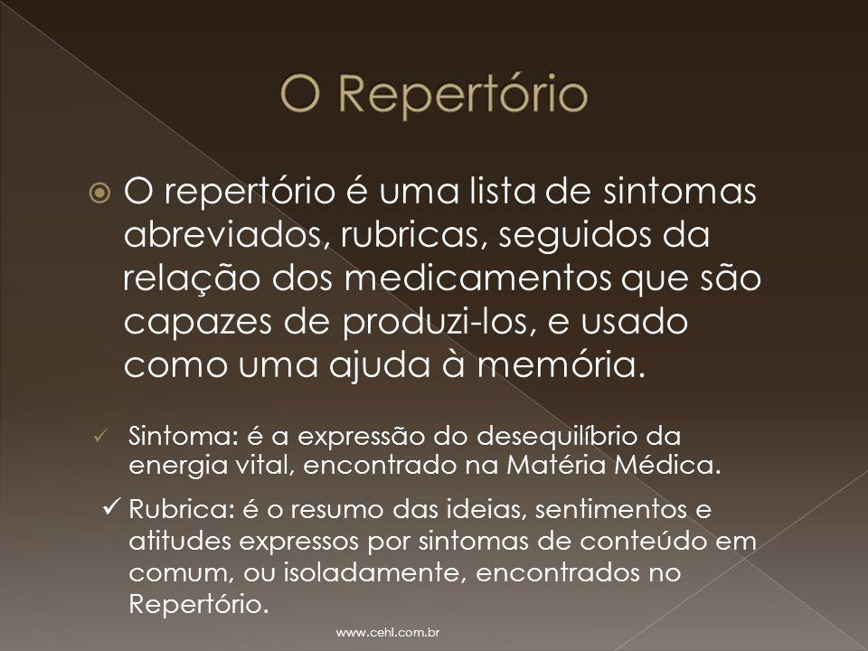  O repertório é uma lista de sintomas abreviados, rubricas, seguidos da relação dos medicamentos que são capazes de produzi-los, e usado como uma aju