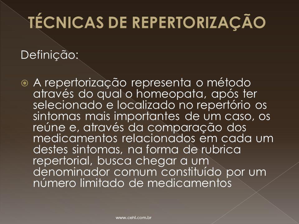 Definição:  A repertorização representa o método através do qual o homeopata, após ter selecionado e localizado no repertório os sintomas mais import