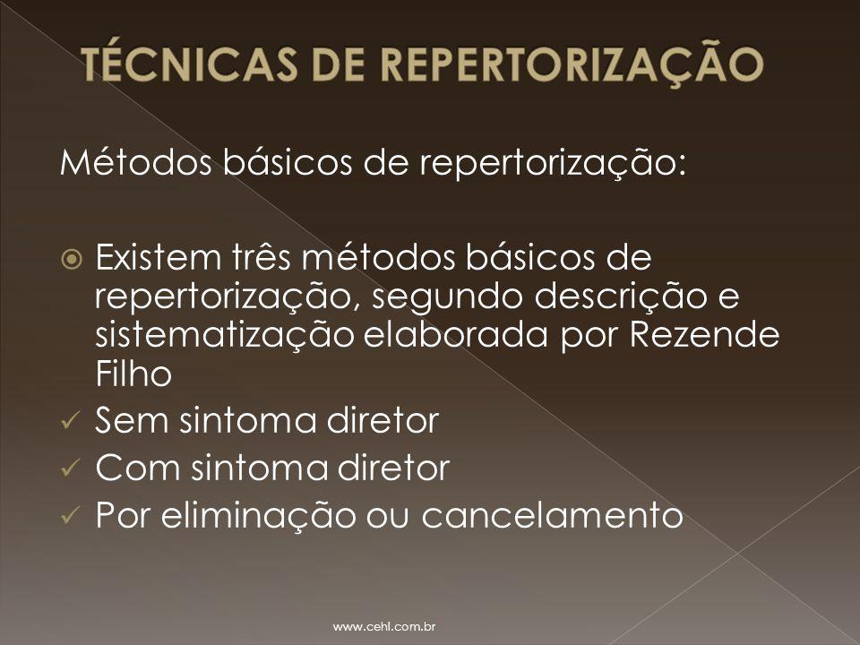 Métodos básicos de repertorização:  Existem três métodos básicos de repertorização, segundo descrição e sistematização elaborada por Rezende Filho Se