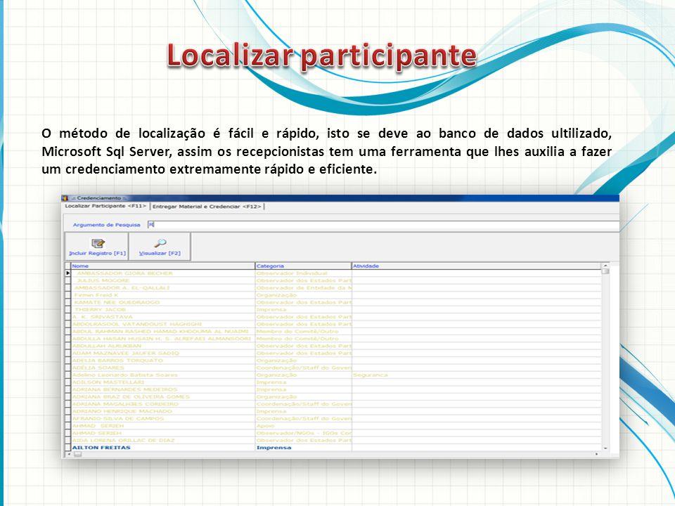 O método de localização é fácil e rápido, isto se deve ao banco de dados ultilizado, Microsoft Sql Server, assim os recepcionistas tem uma ferramenta que lhes auxilia a fazer um credenciamento extremamente rápido e eficiente.