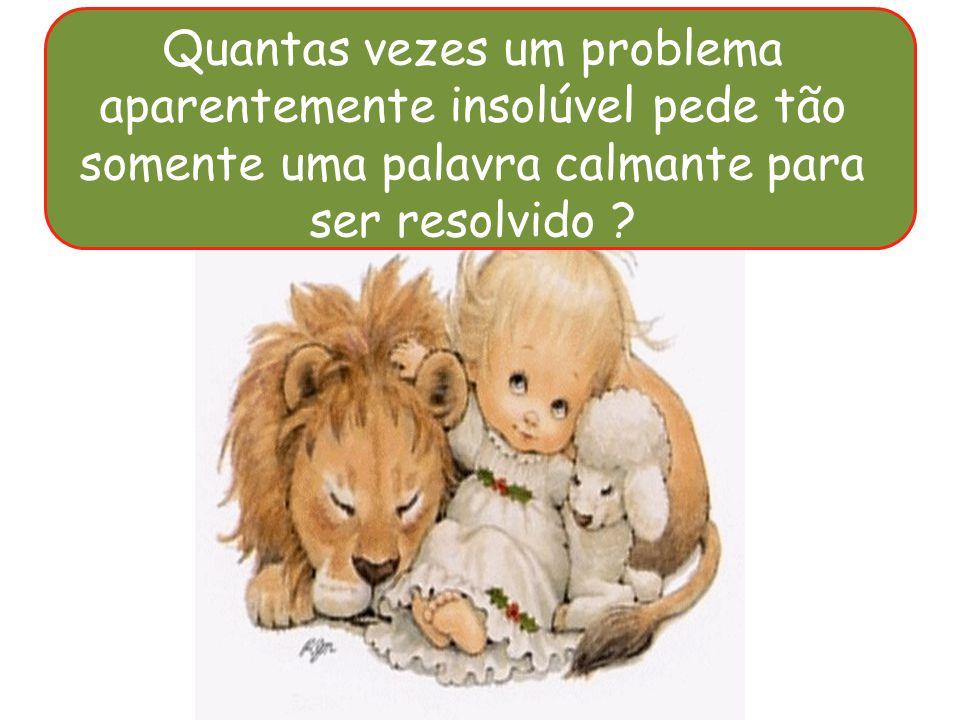 Quantas vezes um problema aparentemente insolúvel pede tão somente uma palavra calmante para ser resolvido