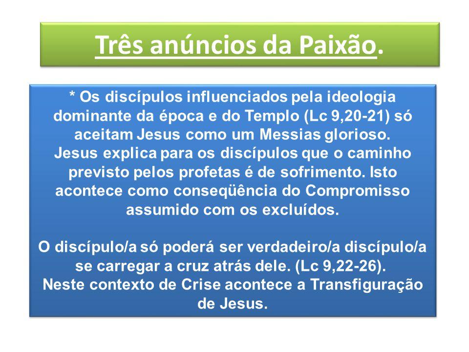* Os discípulos influenciados pela ideologia dominante da época e do Templo (Lc 9,20-21) só aceitam Jesus como um Messias glorioso.