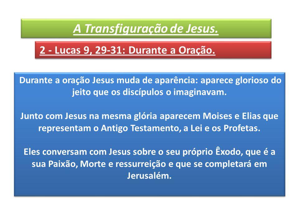 Durante a oração Jesus muda de aparência: aparece glorioso do jeito que os discípulos o imaginavam.