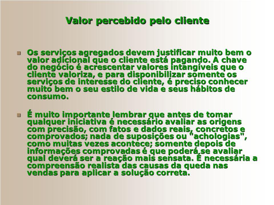 Valor percebido pelo cliente O que faz a diferença realmente não é o preço, nem a propaganda, nem o pós-venda, nem a simpatia dos vendedores; como ain