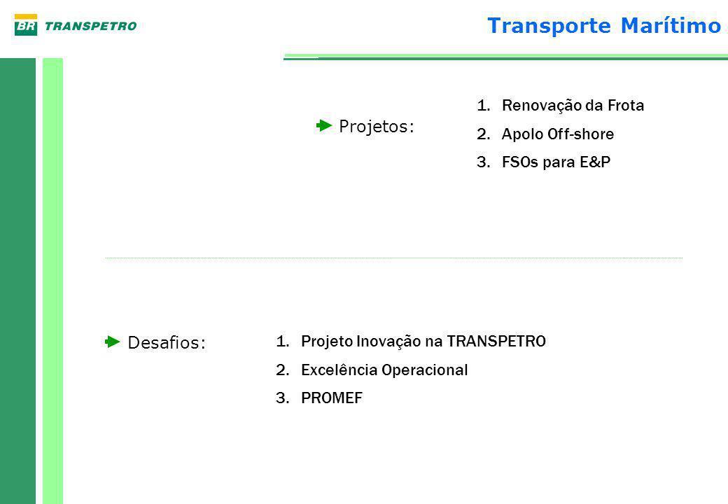 Projetos: Desafios: 1.Renovação da Frota 2.Apolo Off-shore 3.FSOs para E&P 1.Projeto Inovação na TRANSPETRO 2.Excelência Operacional 3.PROMEF