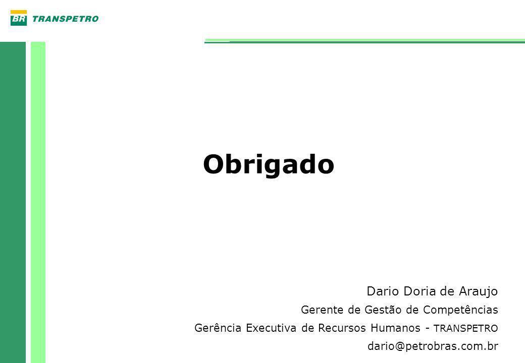 Obrigado Dario Doria de Araujo Gerente de Gestão de Competências Gerência Executiva de Recursos Humanos - TRANSPETRO dario@petrobras.com.br