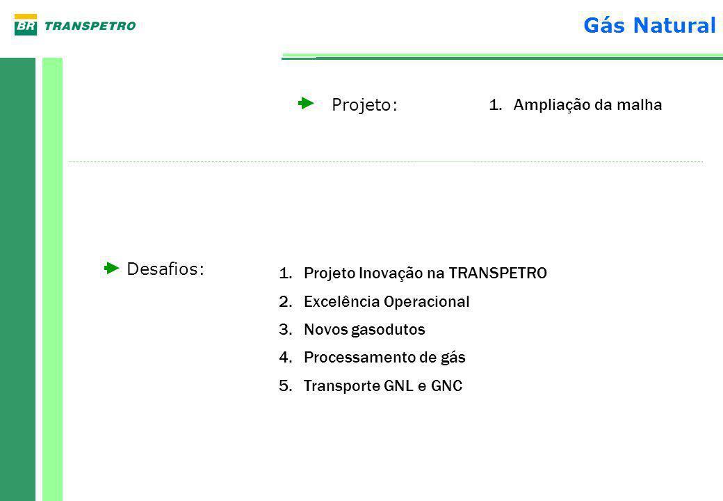 Projeto: Desafios: 1.Ampliação da malha 1.Projeto Inovação na TRANSPETRO 2.Excelência Operacional 3.Novos gasodutos 4.Processamento de gás 5.Transporte GNL e GNC