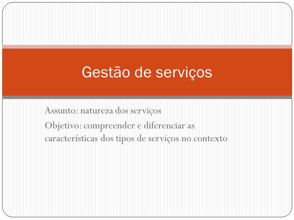 Assunto: natureza dos serviços Objetivo: compreender e diferenciar as características dos tipos de serviços no contexto Gestão de serviços