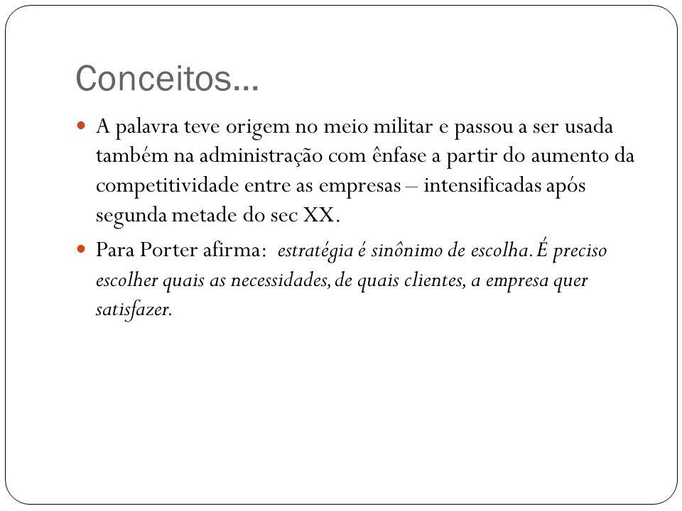 Conceitos... A palavra teve origem no meio militar e passou a ser usada também na administração com ênfase a partir do aumento da competitividade entr
