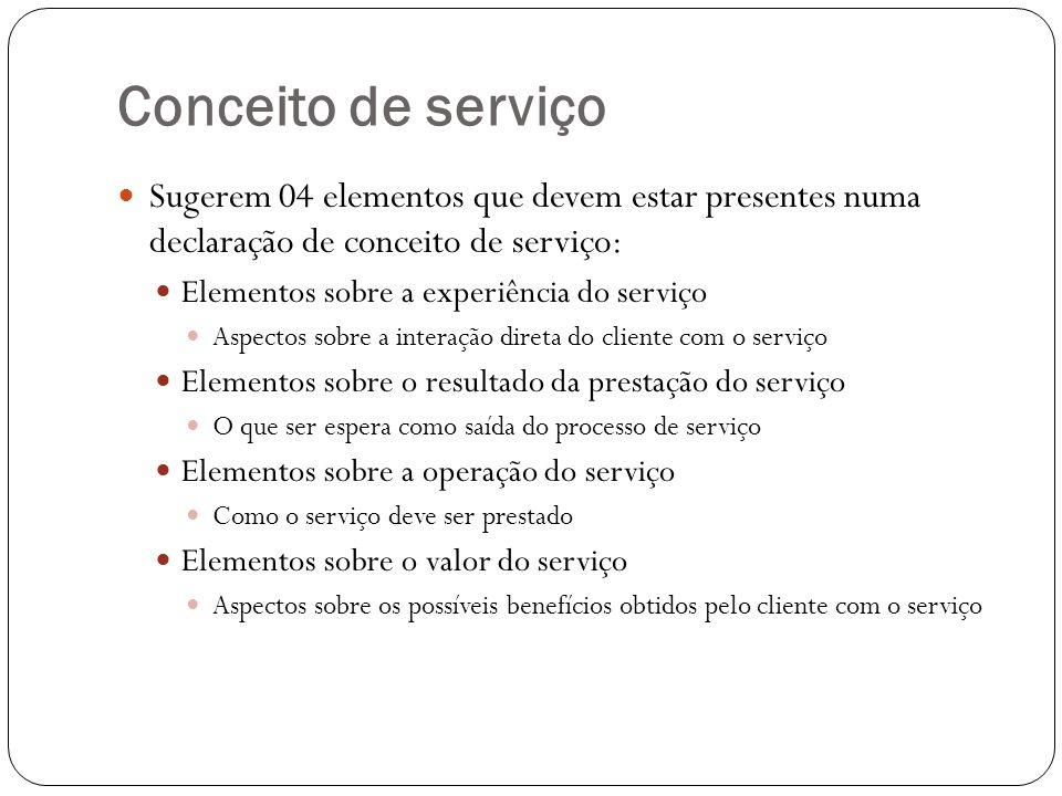 Conceito de serviço Sugerem 04 elementos que devem estar presentes numa declaração de conceito de serviço: Elementos sobre a experiência do serviço As