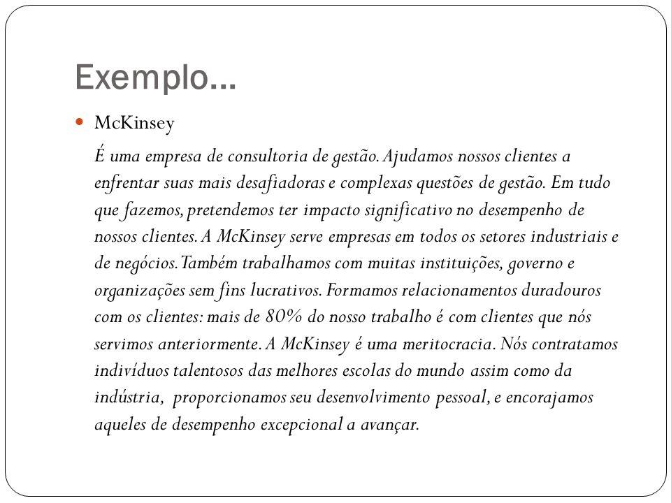 Exemplo... McKinsey É uma empresa de consultoria de gestão. Ajudamos nossos clientes a enfrentar suas mais desafiadoras e complexas questões de gestão