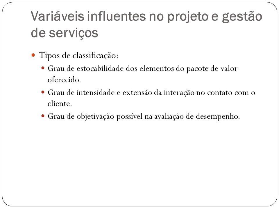 Variáveis influentes no projeto e gestão de serviços Tipos de classificação: Grau de estocabilidade dos elementos do pacote de valor oferecido. Grau d