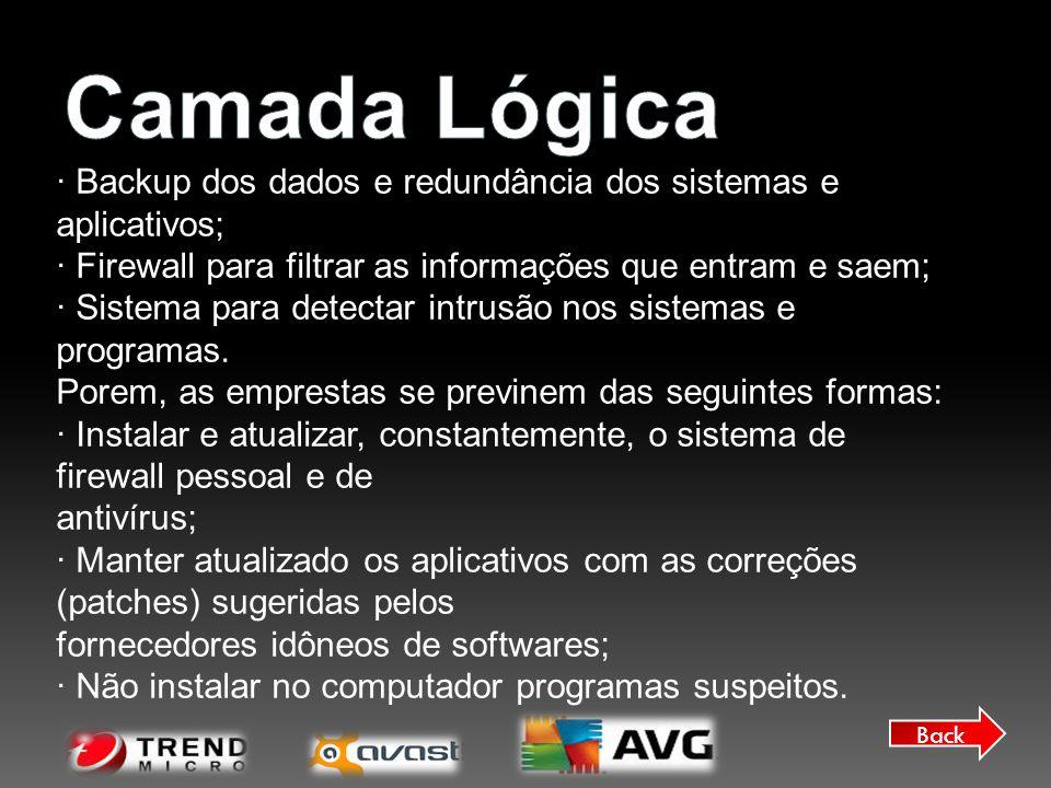 Back · Backup dos dados e redundância dos sistemas e aplicativos; · Firewall para filtrar as informações que entram e saem; · Sistema para detectar in