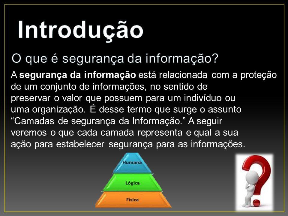 A segurança da informação está relacionada com a proteção de um conjunto de informações, no sentido de preservar o valor que possuem para um indivíduo