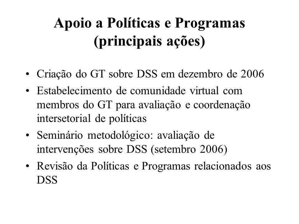 Apoio a Políticas e Programas (principais ações) Criação do GT sobre DSS em dezembro de 2006 Estabelecimento de comunidade virtual com membros do GT p