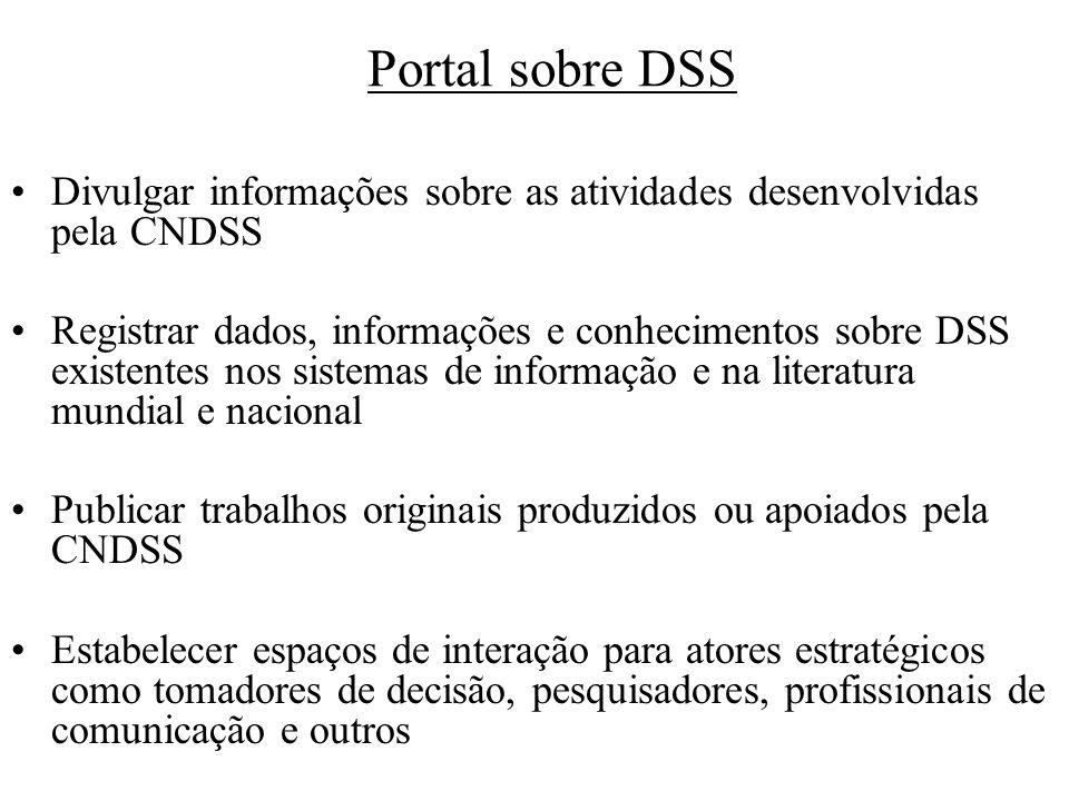 Portal sobre DSS Divulgar informações sobre as atividades desenvolvidas pela CNDSS Registrar dados, informações e conhecimentos sobre DSS existentes n
