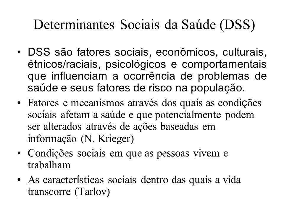 Determinantes Sociais da Saúde (DSS) DSS são fatores sociais, econômicos, culturais, étnicos/raciais, psicológicos e comportamentais que influenciam a