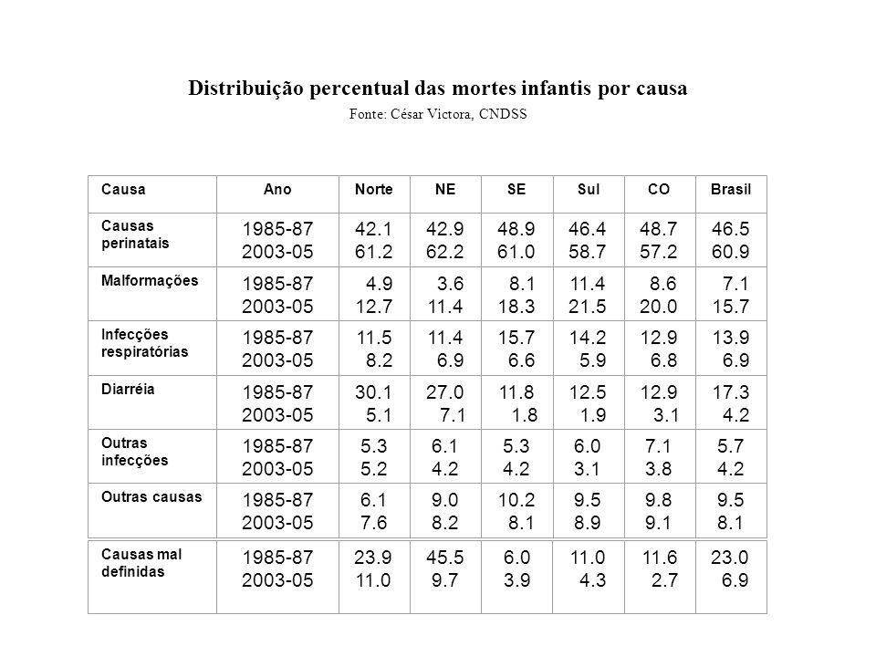 Distribuição percentual das mortes infantis por causa Fonte: César Victora, CNDSS CausaAnoNorteNESESulCOBrasil Causas perinatais 1985-87 2003-05 42.1