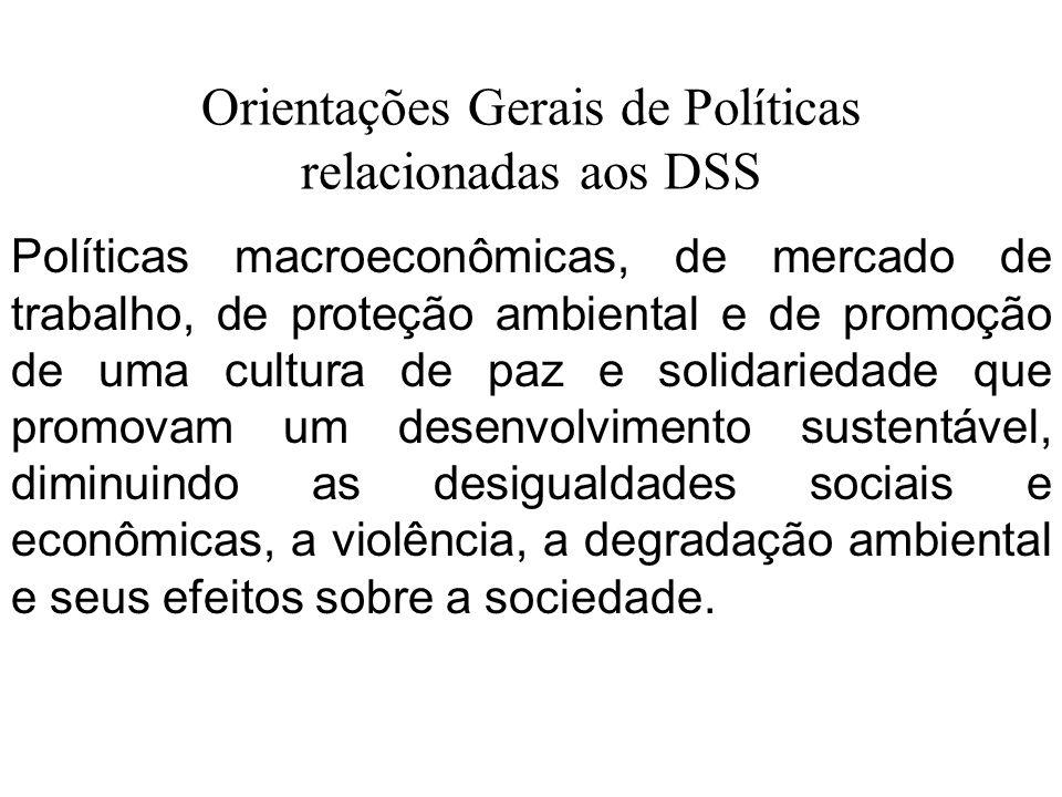 Orientações Gerais de Políticas relacionadas aos DSS Políticas macroeconômicas, de mercado de trabalho, de proteção ambiental e de promoção de uma cul