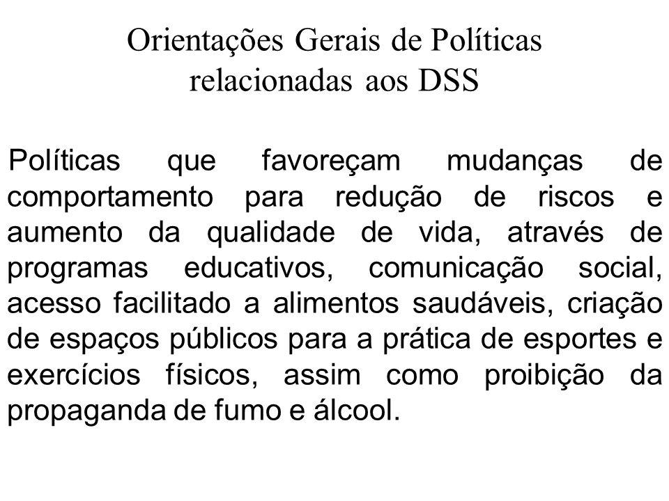 Orientações Gerais de Políticas relacionadas aos DSS Políticas que favoreçam mudanças de comportamento para redução de riscos e aumento da qualidade d