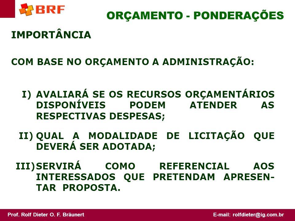 Prof. Rolf Dieter O. F. BräunertE-mail: rolfdieter@ig.com.br ORÇAMENTO