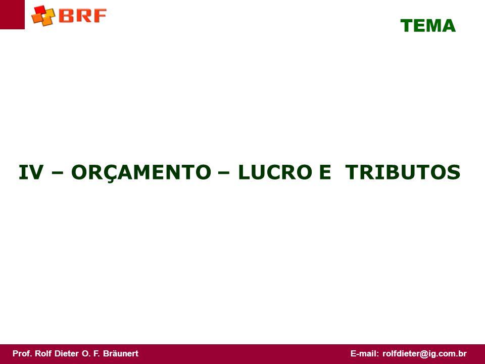Prof. Rolf Dieter O. F. BräunertE-mail: rolfdieter@ig.com.br IV – ORÇAMENTO – LUCRO E TRIBUTOS TEMA