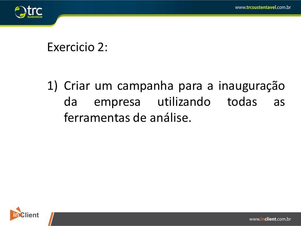 Exercicio 2: 1)Criar um campanha para a inauguração da empresa utilizando todas as ferramentas de análise.