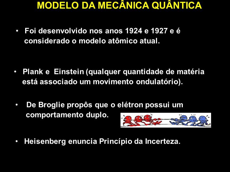 MODELO DA MECÂNICA QUÂNTICA Foi desenvolvido nos anos 1924 e 1927 e é considerado o modelo atômico atual. Plank e Einstein (qualquer quantidade de mat