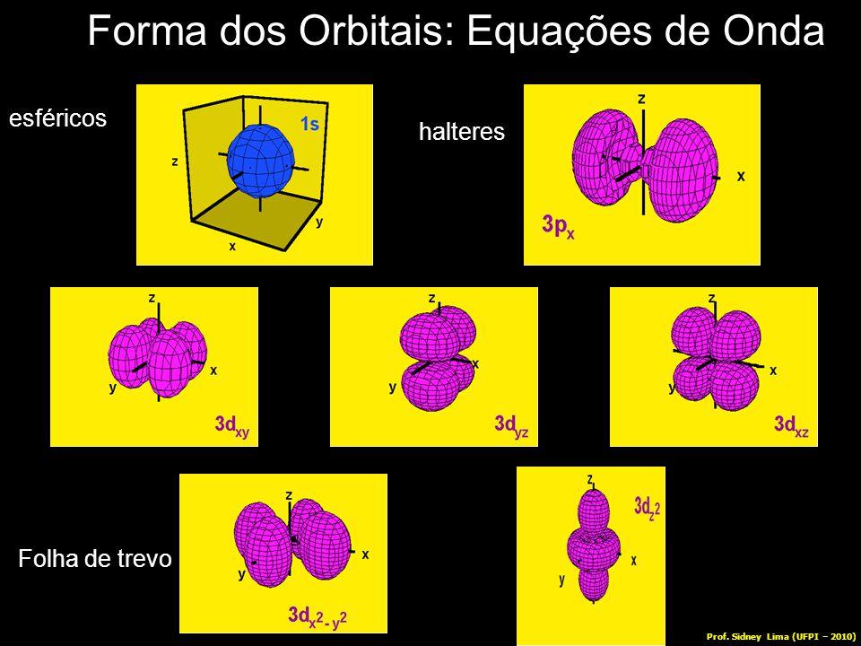 Forma dos Orbitais: Equações de Onda Folha de trevo esféricos halteres Prof. Sidney Lima (UFPI – 2010)