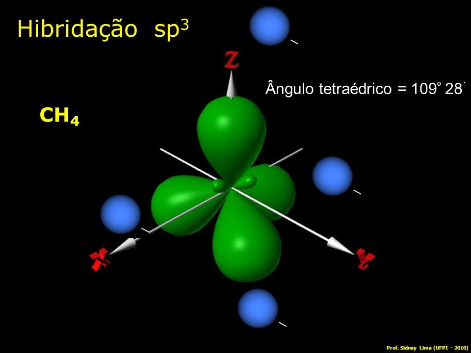 Hibridação sp 3 CH 4 Ângulo tetraédrico = 109 º 28 ´ Prof. Sidney Lima (UFPI – 2010)