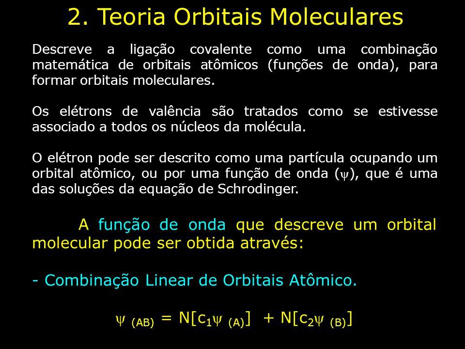 Descreve a ligação covalente como uma combinação matemática de orbitais atômicos (funções de onda), para formar orbitais moleculares. Os elétrons de v