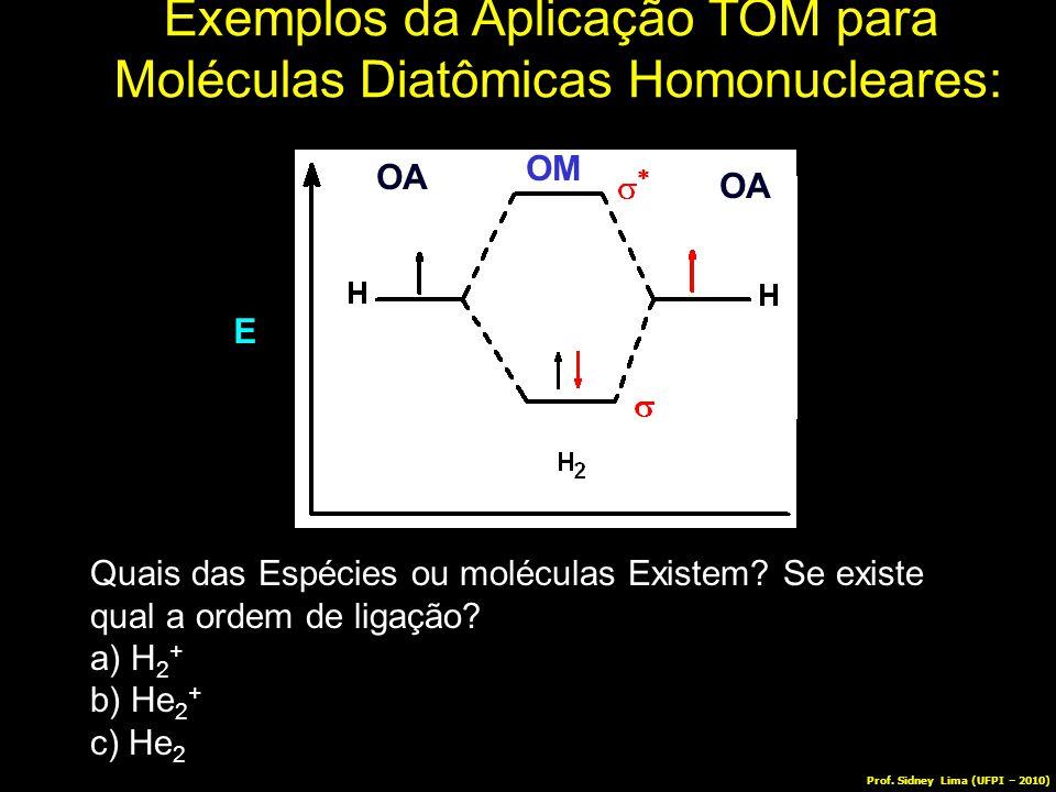 E OA OM Exemplos da Aplicação TOM para Moléculas Diatômicas Homonucleares: Quais das Espécies ou moléculas Existem? Se existe qual a ordem de ligação?