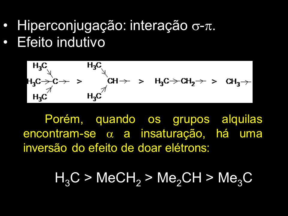 Hiperconjugação: interação  - . Efeito indutivo Porém, quando os grupos alquilas encontram-se  a insaturação, há uma inversão do efeito de doar elé
