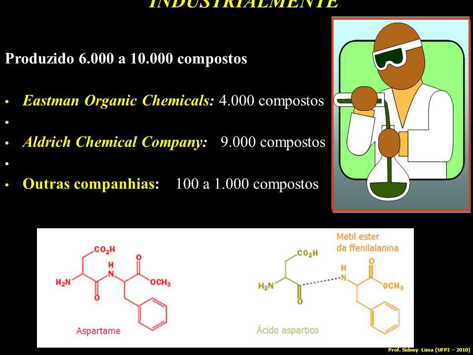 INDUSTRIALMENTE Produzido 6.000 a 10.000 compostos Eastman Organic Chemicals: 4.000 compostos Aldrich Chemical Company: 9.000 compostos Outras companh