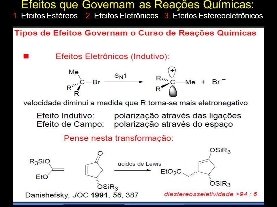 Efeitos que Governam as Reações Químicas: 1. Efeitos Estéreos 2. Efeitos Eletrônicos 3. Efeitos Estereoeletrônicos