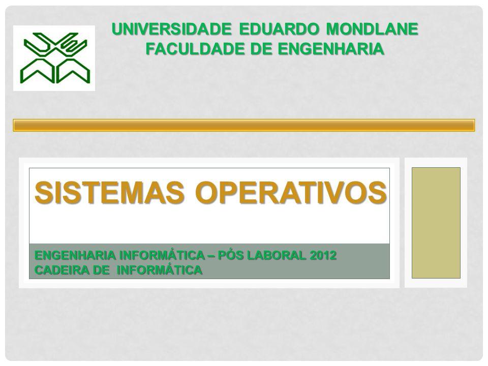 SISTEMAS OPERATIVOS UNIVERSIDADE EDUARDO MONDLANE FACULDADE DE ENGENHARIA ENGENHARIA INFORMÁTICA – PÓS LABORAL 2012 CADEIRA DE INFORMÁTICA