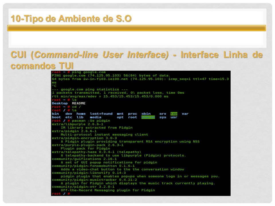 10-Tipo de Ambiente de S.O CUI (Command-line User Interface) - Interface Linha de comandos TUI