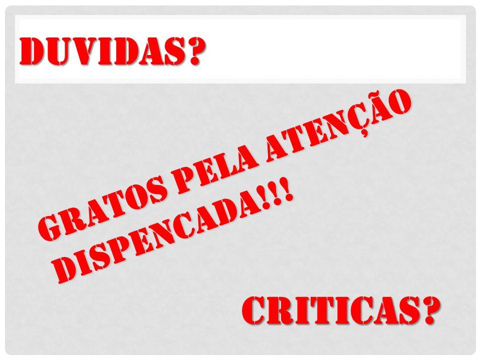 GRATOS PELA Atenção DISPENCADA!!! Duvidas Criticas