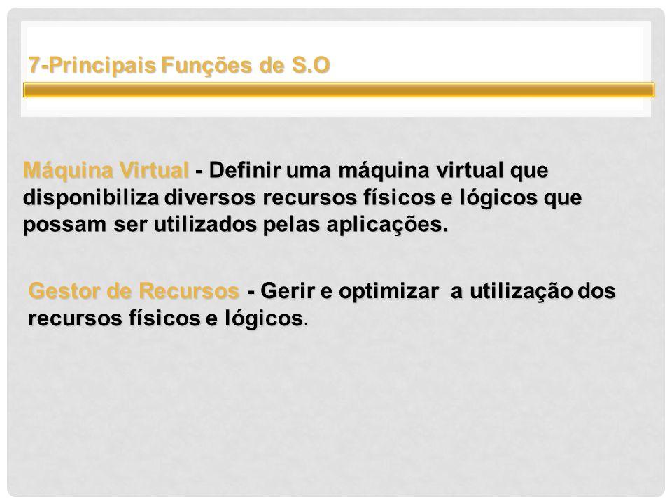 7-Principais Funções de S.O Máquina Virtual - Definir uma máquina virtual que disponibiliza diversos recursos físicos e lógicos que possam ser utilizados pelas aplicações.
