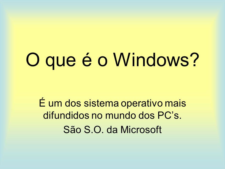 O que é o Windows. É um dos sistema operativo mais difundidos no mundo dos PC's.