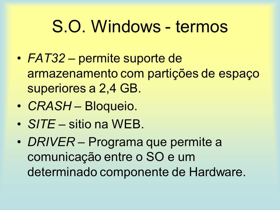 S.O. Windows - termos FAT32 – permite suporte de armazenamento com partições de espaço superiores a 2,4 GB. CRASH – Bloqueio. SITE – sitio na WEB. DRI
