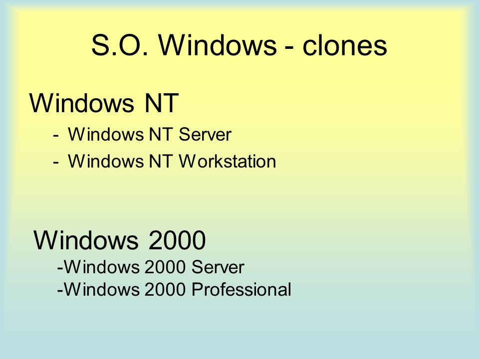 S.O. Windows - clones Windows NT -Windows NT Server -Windows NT Workstation Windows 2000 -Windows 2000 Server -Windows 2000 Professional