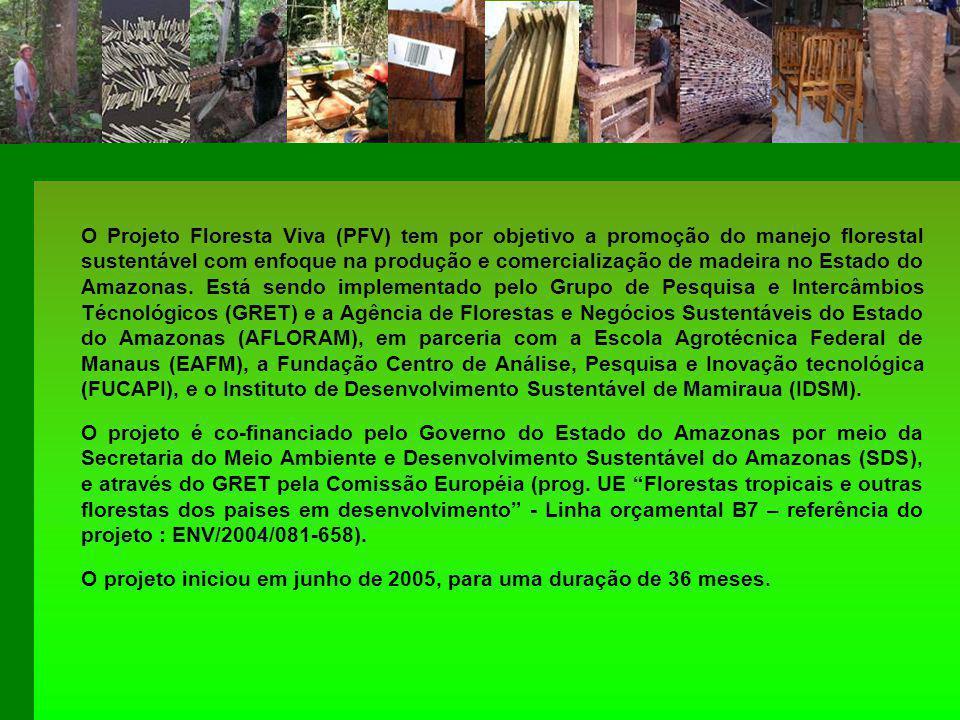 O Projeto Floresta Viva (PFV) tem por objetivo a promoção do manejo florestal sustentável com enfoque na produção e comercialização de madeira no Estado do Amazonas.